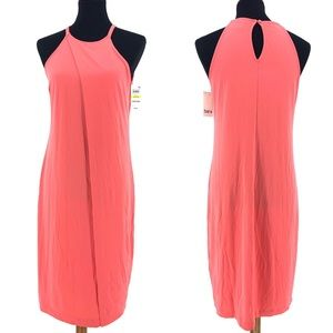 Bar III Peony Coral Pink Cocktail Midi Dress Sz M